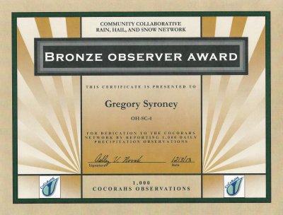 Bronze Observer Award