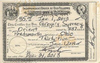 2013 IOOF - Orient Lodge No. 337 Membership Card