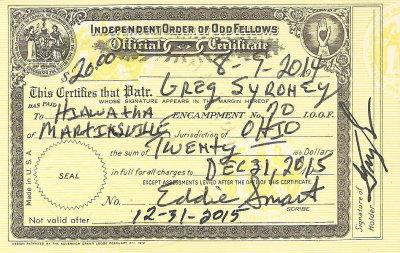 2015 IOOF - Encampment Membership Card