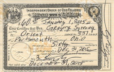 2015 IOOF - Orient Lodge No. 337 Membership Card