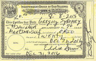 2016 - Hiawatha Encampment No. 70 IOOF Membership Card, Martinsville, Ohio