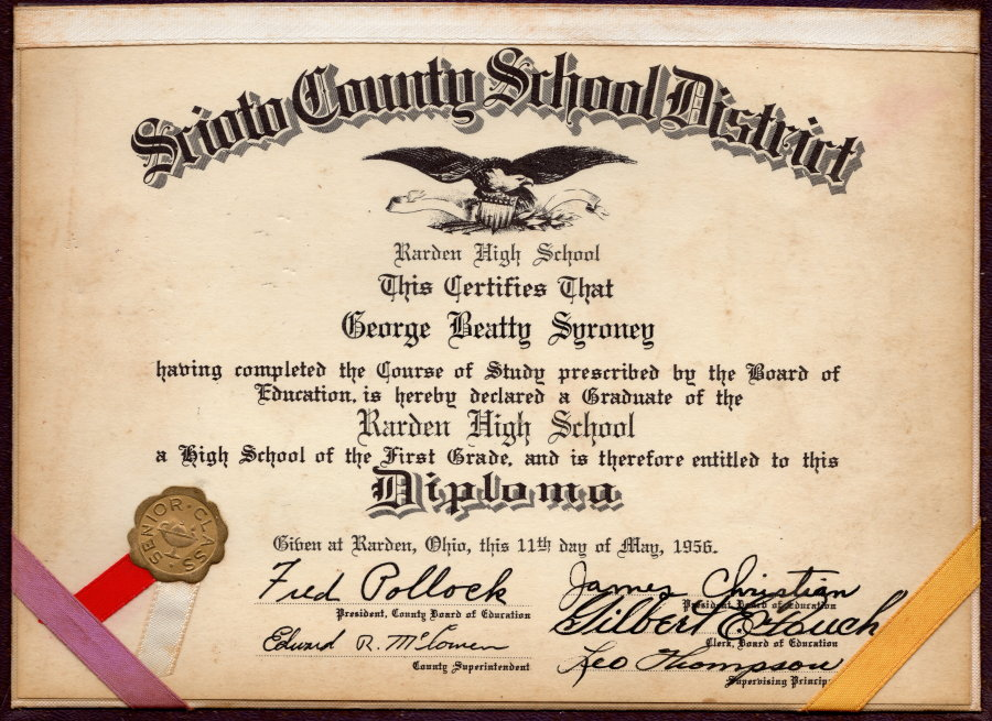 Class of 1956 - George Beatty Syroney - Diploma